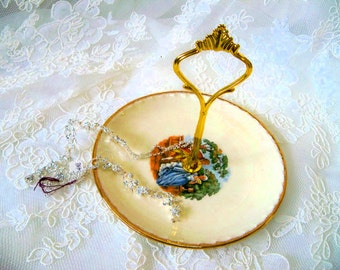 Vintage Victorian China 1-Tier Jewelry/Candy Dish with Gold Edging