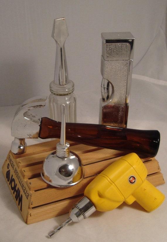 Collection of Carpenter's Tools VIntage Avon After-Shave/Cologne Bottles for Masculine Decor