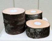 Wood Candle Holders-Rustic Candle-Wedding Candle-Birch Candle