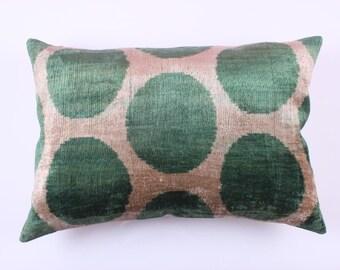Buglem /Handmade ikat silk velvet Pillow Cover- 24x16 inch free shipment