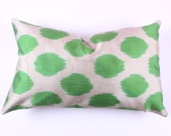 Buglem / Handmade Silk cotton ikat Pillow Cover- 15,00x24,40 inch
