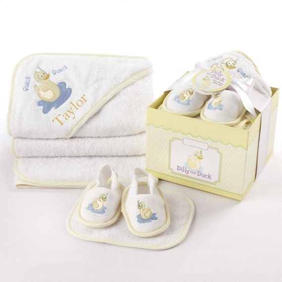 Baby Gift Bath Sets : Hooded baby bath towel duck gift set by personalizeitbaby