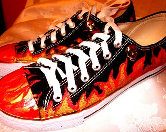 Custom Painted Mens sneakers flames, confetti, paint stripes, camo, skulls 5 Styles on SALE