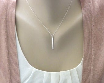 Sterling Silver Bar Necklace - Slice - All Sterling Silver - Vertical Bar