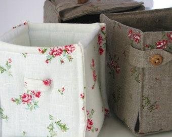 Linen Fabric Storage Basket / Organizer / White / Ecru / Flowery