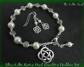 Silver Celtic Knot & Pearl Bracelet with Matching Earrings - 1 set