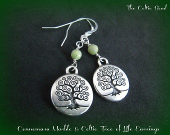 Connemara Marble and Silver Celtic Tree of Life Earrings