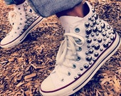 White Studded Converse Shoes