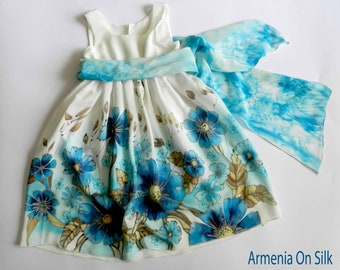 Flower silk dress hand painted for kids. Navy blue,  turquoise and  white  silk dress.  Made to order.