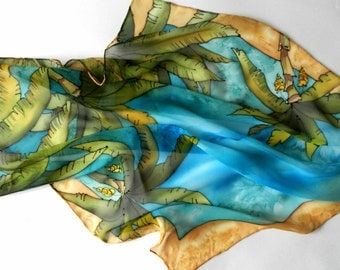 Hand painted silk scarf with palm trees. Australian silk scarf. Ready to ship.