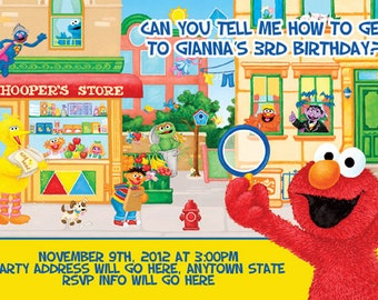Sesame Street Invitation Digital File 4X6 or 5X7