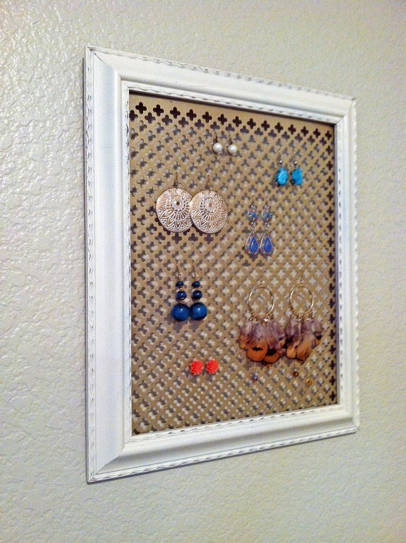 Chic framed jewelry display, 16x20 with gold or white background