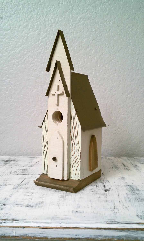 Handmade White Church Birdhouse