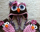 Baby Owl Hat and Legwarmers Pattern size Newborn to 10 yrs