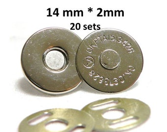 Extra Thin Magnetic Snaps 20 sets 14mm 2 mm Nickel Plated