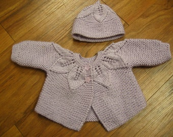 Knitted leafy lace baby jacket and matching hat