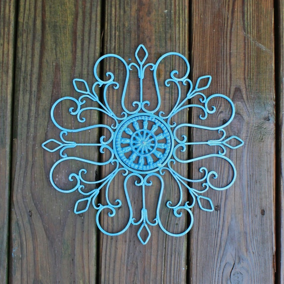 Distressed Metal Wall Decor : Metal wall fixture turquoise distressed patio by