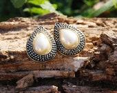 Faux Pearl Teardrop Clip-on Earrings