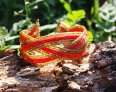 Interwoven Seed bead Red and Beige Bracelet