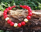 Red and Gold Vintage Wooden Necklace
