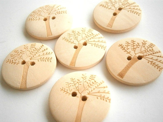 Tree Wood Buttons 20mm Natural Wood Buttons ( 12 pieces)