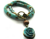 "Bead Crochet Necklace ""The forgotten rose"""