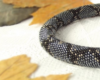 Snake  Beaded Necklace  Python Black  Hematite  Antique silver  Bead Crochet Necklace Made to order Free shipping Beadwork Handmade Jewelry