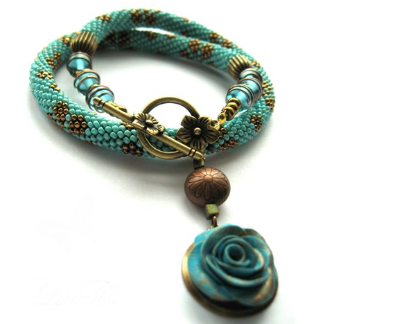 "Bead Crochet Necklace ""The forgotten rose"""