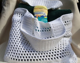 White Crochet Market or Beach Bag