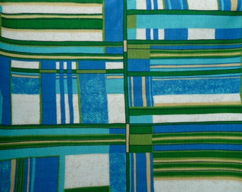 vintage 1960s mod geometric decorator fabric blue green