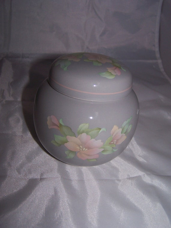 SADLER ENGLAND pretty Ginger Jar floral pink grey
