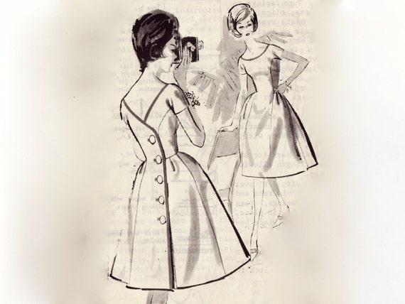Vintage 1960s Sewing Pattern - Back Wrap Cocktail Dress w/ Princess Lines & Full Skirt - 1962 Spadea Designer by Sylvan Rich, Bust 35