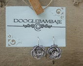 Aspen Rose Design- Classy Black and White Fabric Rose Flower French Circle arc Close Loop Hook Dangle Earrings Wedding