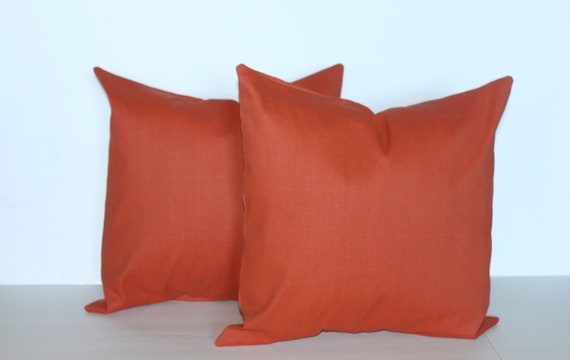 TWO 18 x 18 Pillow Covers Indoor/Outdoor Solid Canyon Color. Premier Prints  - Decorator Pillow Covers