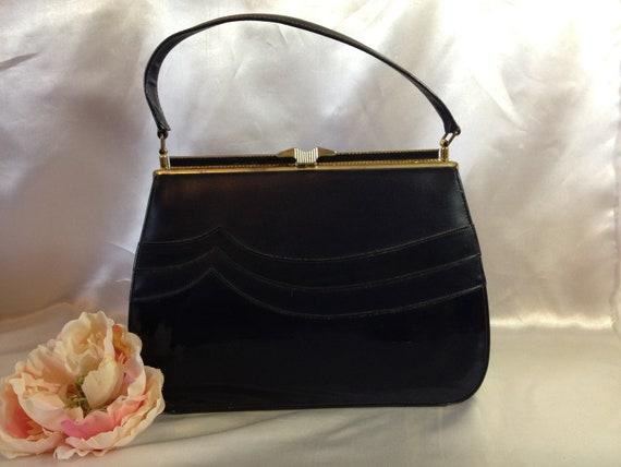 Vintage Purse Navy Blue Handbag