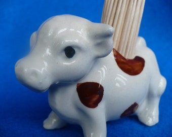 Vintage, cow, bull toothpick holder