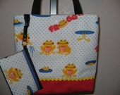 Lil FROGS n POLKA DOTS Tote  Book Gift Bag