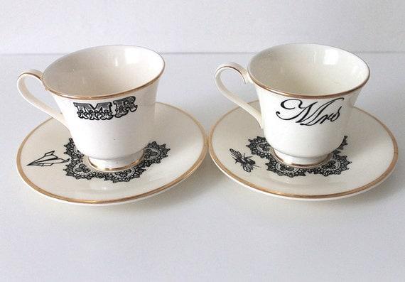 Vintage Mr & Mrs teacups