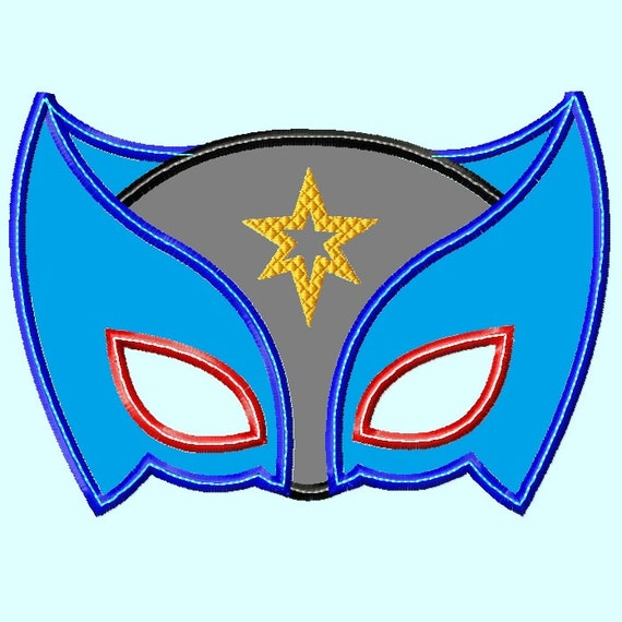 Super Hero Mask  Applique Embroidery Design,  3 sizes (Great for  hooded towels and blankets) INSTANT DOWNLOAD