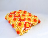 Retro Vintage Daisy Hand Crocheted Afghan Mid Century Blanket Throw