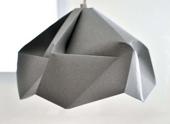 FOR Dugan / Snowflake: Origami Paper Lamp Shade / Lantern - Grey