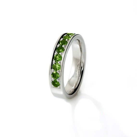 Items Similar To Peridot Ring, Wedding Band, White Gold