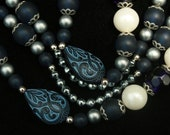 Blue Carved Bead Necklace New Old Stock 1980s Vintage 2-Strand