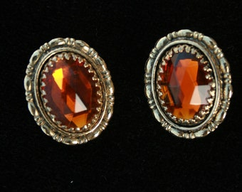 Whiting Davis Topaz Colored Rhinestone Earrings Vintage Excellent Condition