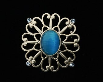 Large Blue Vintage Pin Pretty Blue Cabochon Pale Blue Rhinestones Any Occasion