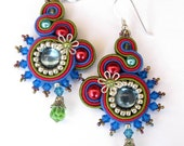 Soutache earrings in Blue, Red, Green and Silver - MiriamShimon