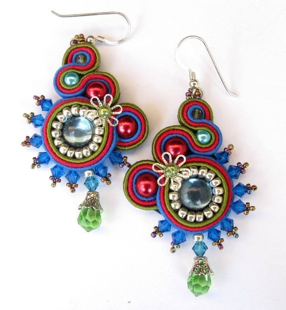 Soutache earrings in Blue, Red, Green and Silver
