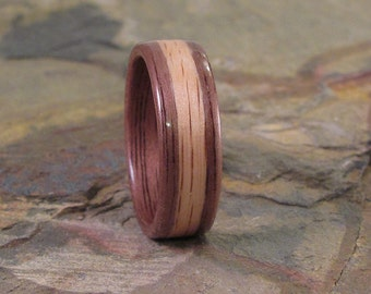 Walnut Bentwood Ring with Oak Inlay