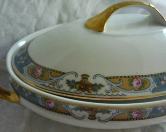 Stunning Crown Imperial Rosari Oval Covered Dish with Pink Roses Blue and Gold Scrolling