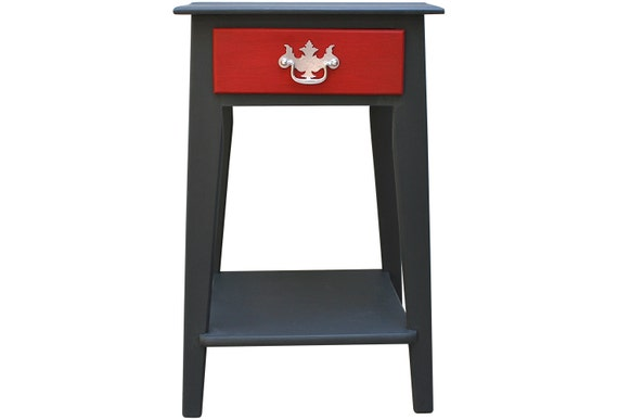 Mid Century Side Table Upcycled Hand Painted Graphite Red
